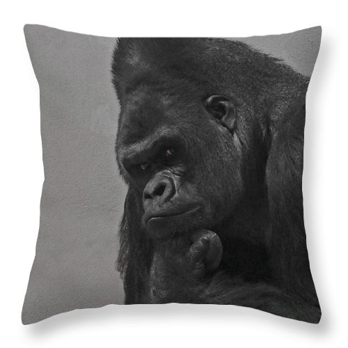 Gorilla Throw Pillow featuring the digital art The Gorilla by Ernie Echols