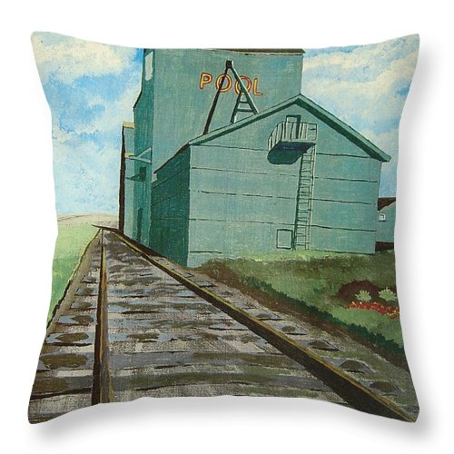 Elevator Throw Pillow featuring the painting The Grain Elevator by Anthony Dunphy