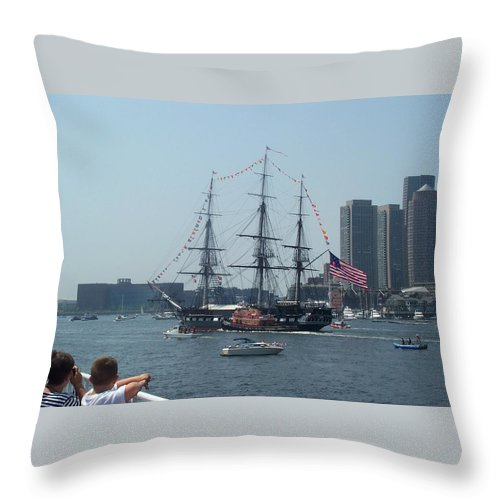 Boston Harbor Throw Pillow featuring the photograph The Grand Old Dame Turns by Barbara McDevitt