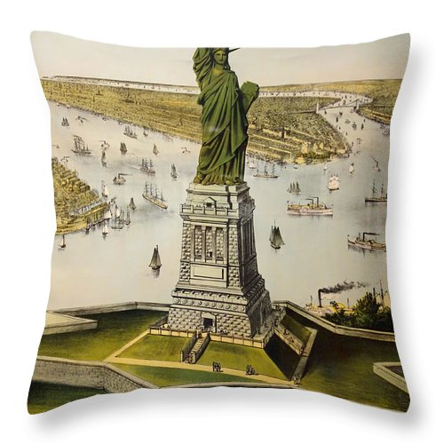 Lithograph Throw Pillow featuring the drawing The Great Bartholdi Statue by Mountain Dreams