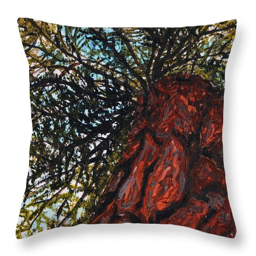 Adirondack Plein Air Festival Throw Pillow featuring the painting The Great Hemlock by Christine Dekkers