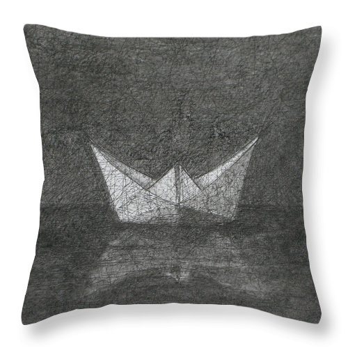 Boat Throw Pillow featuring the drawing The Great Ship by Karl Seitinger