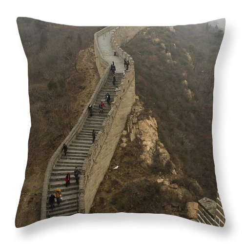 Great Wall Of China Throw Pillow featuring the photograph The Great Wall Of China At Badaling - 8 by Hany J