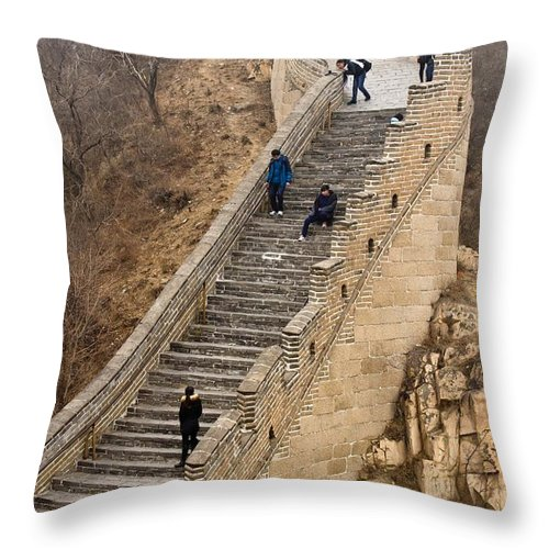 Great Wall Of China Throw Pillow featuring the photograph The Great Wall Of China At Badaling - 9 - A Close Up by Hany J