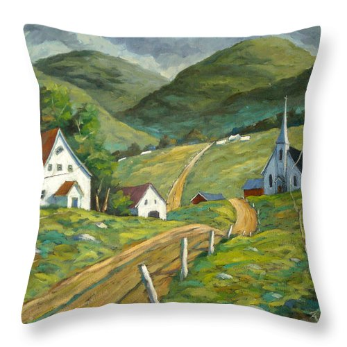 Hills Throw Pillow featuring the painting The Green Hills by Richard T Pranke