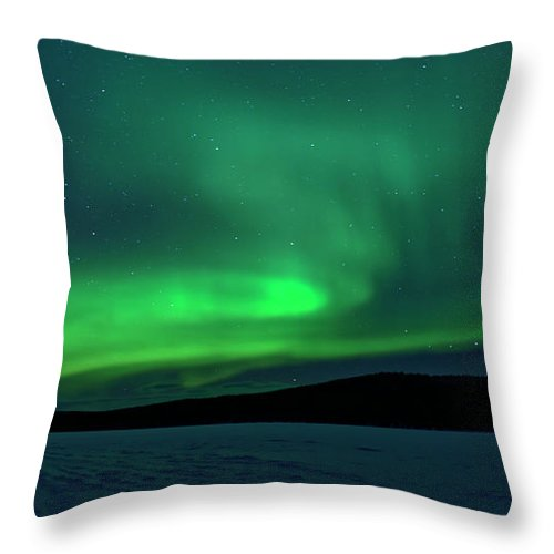 Snow Throw Pillow featuring the photograph The Green Light Of The Aurora by Dave Moorhouse
