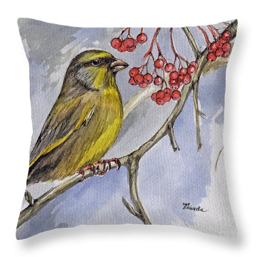 Greenfinch Throw Pillow featuring the painting The Greenfinch by Angel Ciesniarska