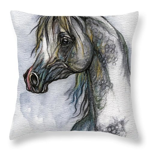 Watercolor Throw Pillow featuring the painting The Grey Arabian Horse 10 by Angel Ciesniarska
