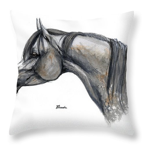 Horse Throw Pillow featuring the painting The Grey Arabian Horse 11 by Angel Ciesniarska