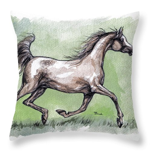 Horse Throw Pillow featuring the painting The Grey Arabian Horse 8 by Angel Ciesniarska