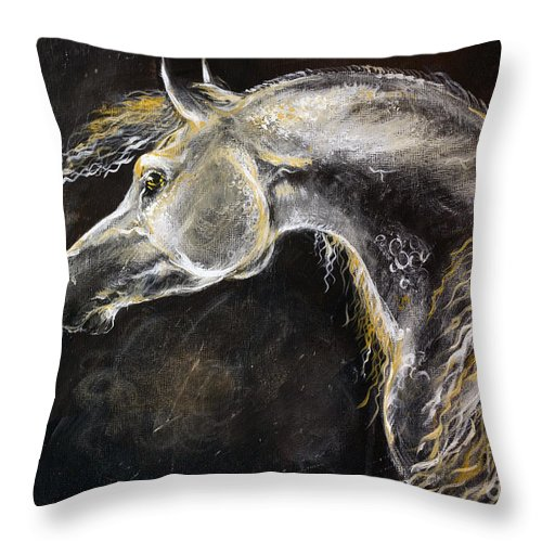 Horse Throw Pillow featuring the painting The Grey Arabian Horse 9 by Angel Ciesniarska