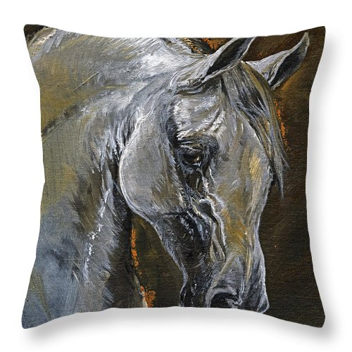 Grey Horse Throw Pillow featuring the painting The Grey Arabian Horse Oil Painting by Angel Ciesniarska