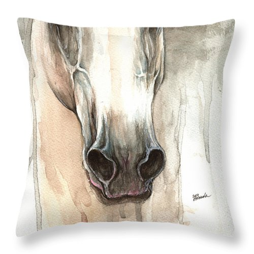 Horse Throw Pillow featuring the painting The Grey Horse Portrait 2014 02 10 by Angel Ciesniarska