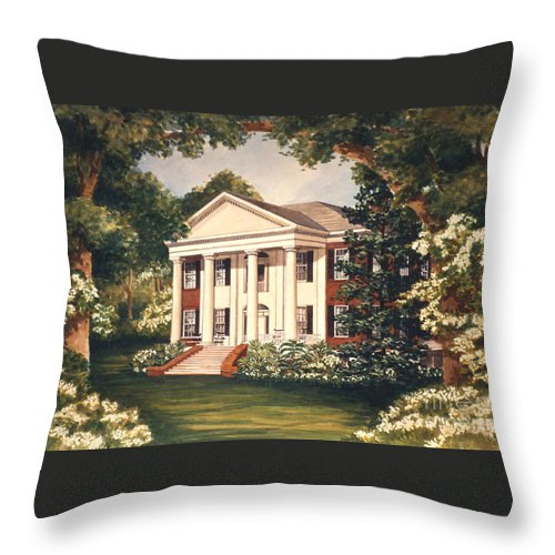 Grove Throw Pillow featuring the painting The Grove Tallahassee Florida by Audrey Peaty