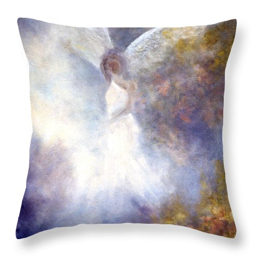 Angel Throw Pillow featuring the painting The Guardian by Marina Petro