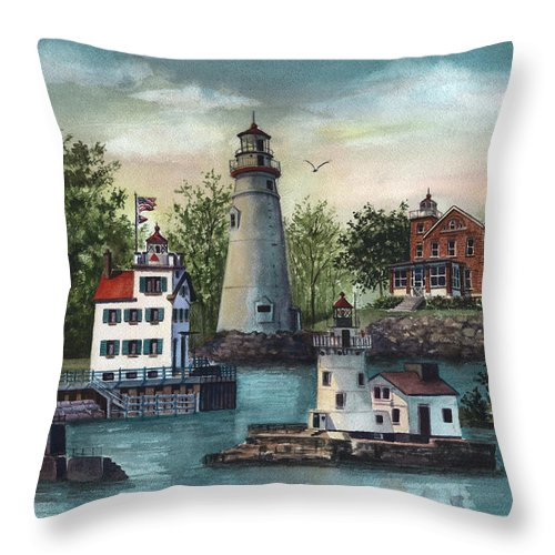Ohio Lighthouse Painting Throw Pillow featuring the painting The Guiding Lights Of Ohio by Terri Meyer