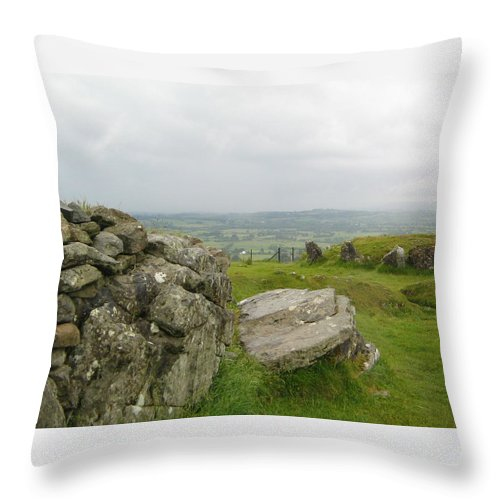 Loughcrew Throw Pillow featuring the photograph The Hag's Chair At Cairn T by Denise Mazzocco