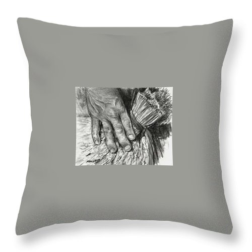Charcoal Throw Pillow featuring the painting The Hand That Feeds Us by Michael Beckett