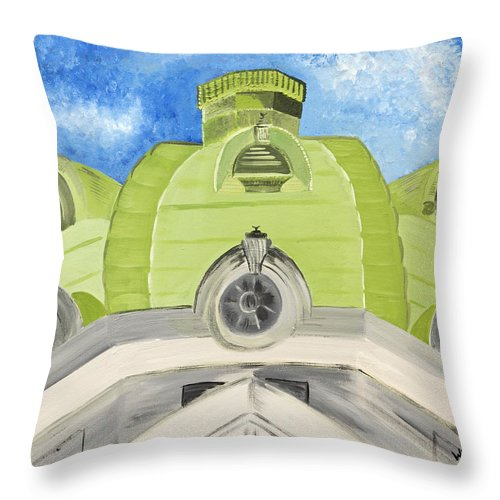 Handley Throw Pillow featuring the painting The Handley Library - Winchester Series by Wendy May