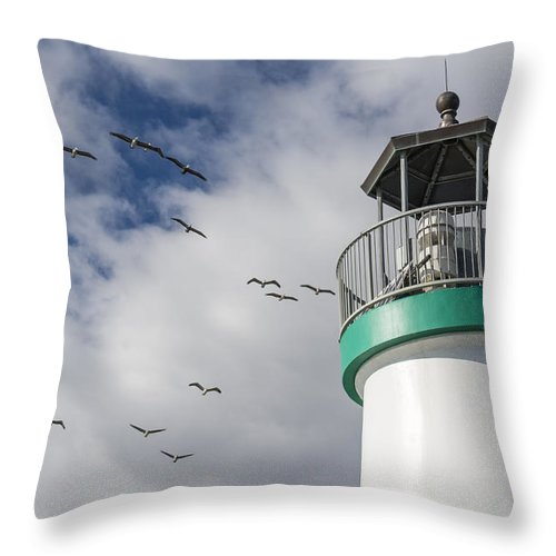 Lighthouse Throw Pillow featuring the photograph The Harbor Lighthouse by Bruce Frye