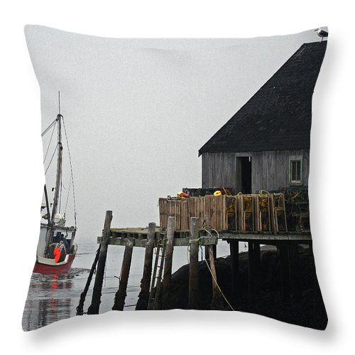 The Harbour Mist Throw Pillow featuring the photograph The Harbour Mist by Robin Clarke