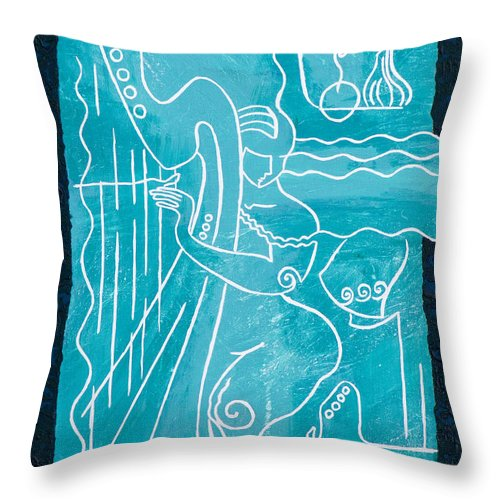 Female Forms Throw Pillow featuring the painting The Harp Player by Elisabeta Hermann