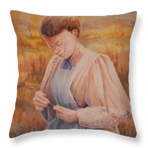 Women Working Throw Pillow featuring the painting The Harvest by Danny Helms