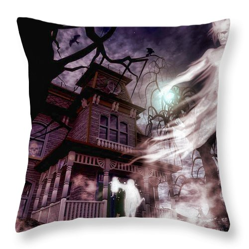 Ghosts Throw Pillow featuring the digital art The Haunting Of Blackthorne Manor by Putterhug Studio