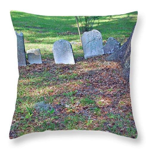 Grave Throw Pillow featuring the photograph The Headstones Of Slaves by Suzanne Gaff