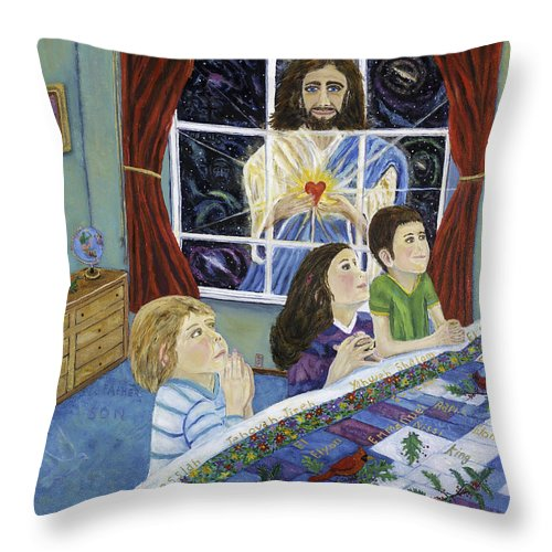 Jesus Throw Pillow featuring the painting The Heart Of The Lord To The Children by Mike De Lorenzo