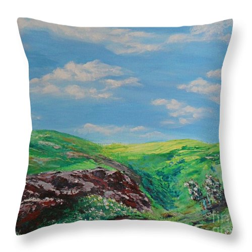 Landscape Paintings Throw Pillow featuring the painting The Hills Are Alive by Brendan Ludlow