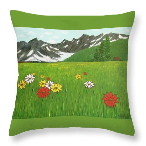 Meadow Mountains Flowers Throw Pillow featuring the painting The Hills Are Alive With The Sound Of Music by Frank Hunter