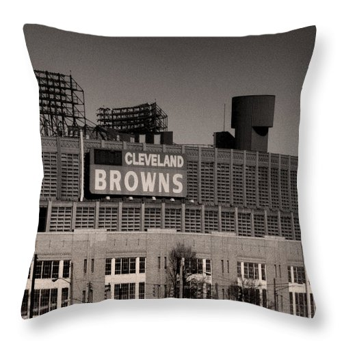 Cleveland Throw Pillow featuring the photograph The Hometeams by Kenneth Krolikowski