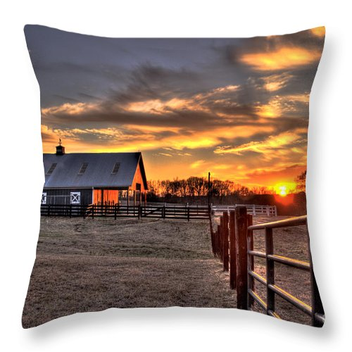 Farm Sunset Throw Pillow featuring the photograph The Horse Barn Sunset by Reid Callaway