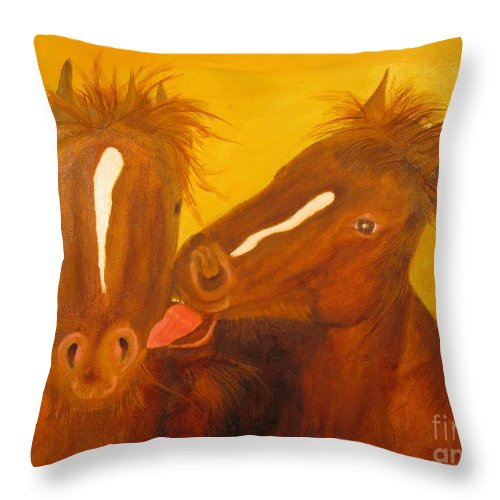 Horse Throw Pillow featuring the painting The Horse Kiss - Original Oil Painting by Anthony Morretta