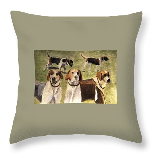 Foxhounds Throw Pillow featuring the painting The Hounds by Angela Davies