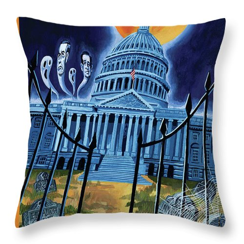 Ted Cruz Throw Pillow featuring the painting The House Republicans Haunt The Captiol Building by Mark Ulriksen