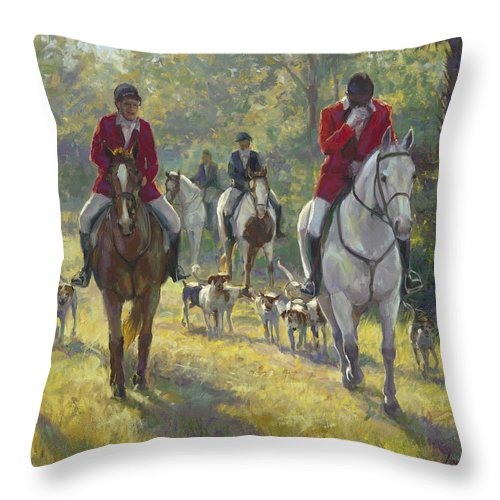 Horses Throw Pillow featuring the painting The Hunt by Laurie Snow Hein