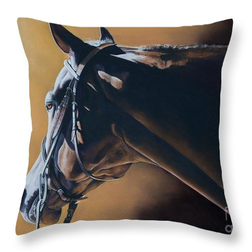 Hunt Seat Throw Pillow featuring the pastel The Hunter by Joni Beinborn