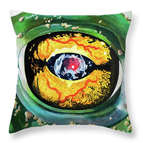 Toad Throw Pillow featuring the drawing The Hypnotoad Made Me Draw It by Marc Wilson