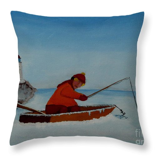 Stupid Throw Pillow featuring the painting The Ice Fisherman by Anthony Dunphy