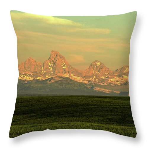 Scenics Throw Pillow featuring the photograph The Idaho Side Of The Grand Tetons by ©anitaburke
