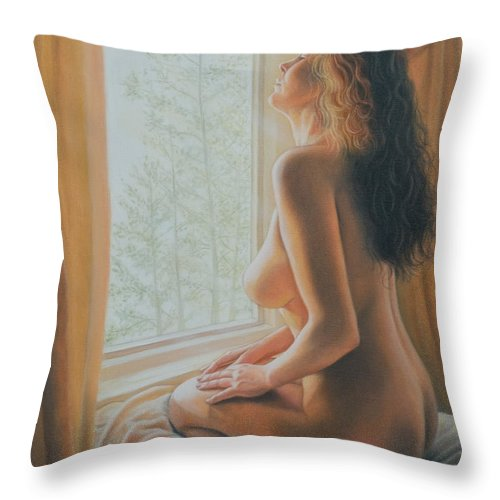 Realistic Throw Pillow featuring the painting The Incredible Lightness Of Being by Holly Kallie