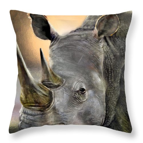 Rhino Throw Pillow featuring the painting The Inevitable Collision-and So I Wait by Reggie Duffie