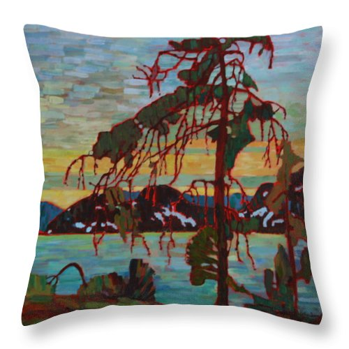 Group Of Seven Throw Pillow featuring the painting The Jack Pine After Tom Thomson by Betty-Anne McDonald