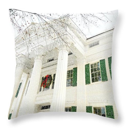 Landscape Throw Pillow featuring the photograph The Jay House At Christmas by Diana Angstadt