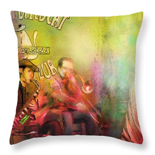 Music Throw Pillow featuring the painting The Jazz Vipers In New Orleans 03 by Miki De Goodaboom