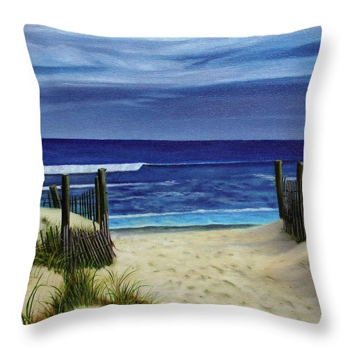 Beach Throw Pillow featuring the painting The Jersey Shore by Daniel Carvalho