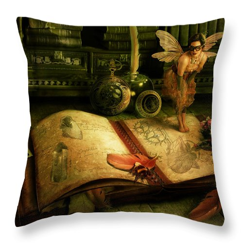 Fantasy Throw Pillow featuring the digital art The Journal by Cassiopeia Art