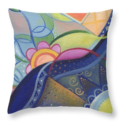 Surreal Throw Pillow featuring the painting The Joy Of Design Vlll by Helena Tiainen